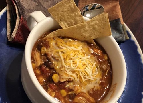 Crockpot Chicken Chili Recipe in bowl