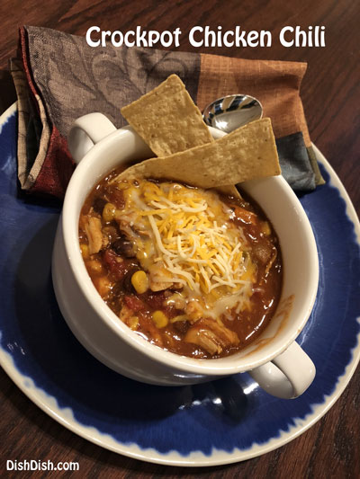 Crockpot Chicken Chili Recipe on table