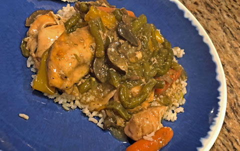 Italian Crockpot Chicken and Vegetables on blue plate
