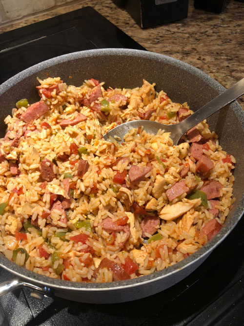 Chicken and Sausage Jambalaya in Skillet