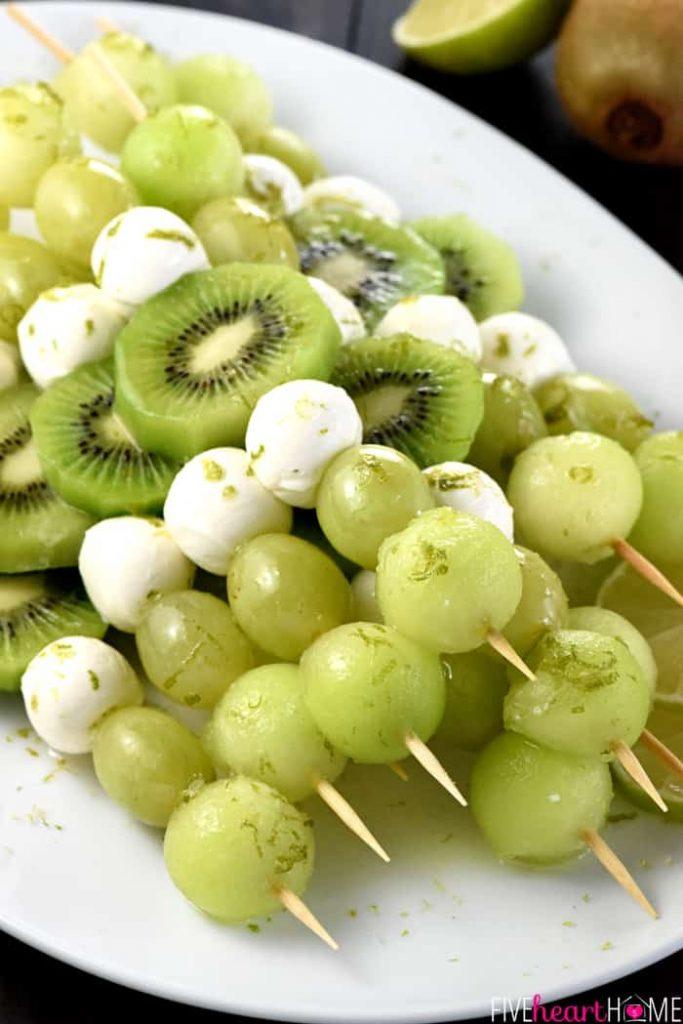 green fruit skewers with honey vanilla yogurt