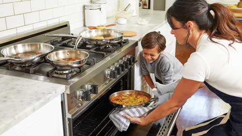 Woman and Boy Cooking in Kitchen | Healthy Eating